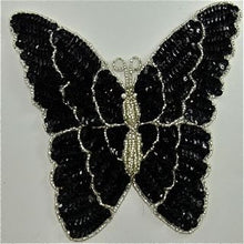 "Load image into Gallery viewer, Butterfly with Black and Silver Sequins and Beads 7.5"" x 7"""
