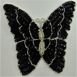 "Butterfly with Black and Silver Sequins and Beads 7.5"" x 7"""