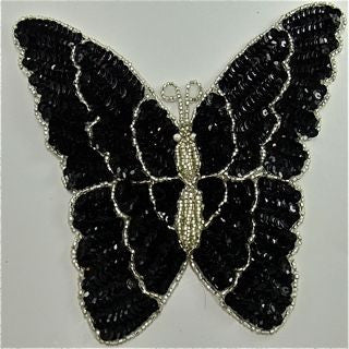 Butterfly with Black and Silver Sequins and Beads 7.5
