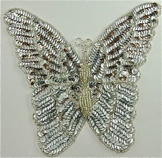 Butterfly with Silver Sequins and Bead  7