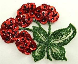 Sequin And Embroidered Cherries with Embroidered Leaves 3' x 2.5""