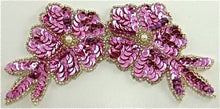 "Load image into Gallery viewer, Flower with Dark Pink Sequins and Beads 6"" x 3"""