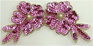 "Flower with Dark Pink Sequins and Beads 6"" x 3"""