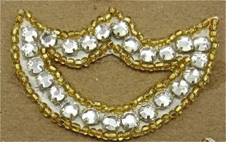 "Designer Motif with Rhinestones and Gold Beads 2.5"" x 1.5"""