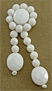 "Epaulet with White Beads 2.5"" x 1"""