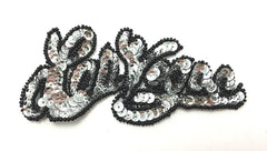 "Las Vegas with Silver or Gold Sequins and Black Beads 4.5"" x 2"""