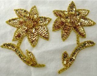 "Flower Pair with Gold Sequins and Beads 4.5"" x 3"""
