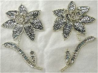 "Flower Pair with Silver Sequins and Beads 4.5"" x 3"""