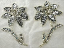 "Load image into Gallery viewer, Flower Pair with Silver Sequins and Beads 4.5"" x 3"""