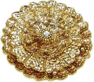 "Flower Gold Three Layers With Rhinestones 4.5""x 4.5"""