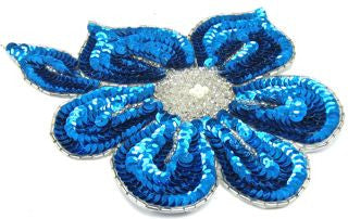 "Flower Turquoise Sequins and Beads and Pearl 7"" x 6"""