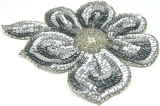 "Flower Silver Sequins and Beads and Pearl Center 7"" x 6"""