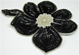 "Flower Black Sequins and Silver Beads with Pearl Center 7"" x 6"""