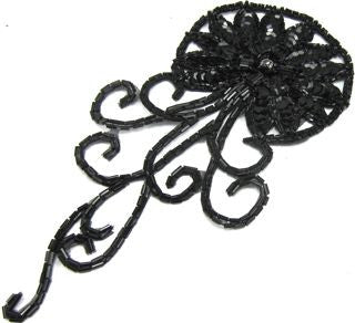 "Flower Black Sequins and Beads with AB Rhinestone 8"" x 4"""