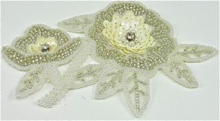 "Flower with White and Silver Sequins and Beads with Rhinestones 5"" x 4"""