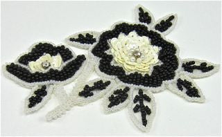 "Flower with Black and White Sequins and Beads with Rhinestones 5"" x 4"""