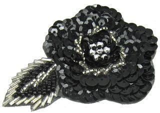 "Flower with Black Sequins and Silver Beading 3.5"" x 2.5"""