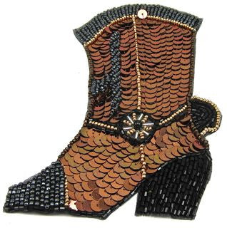 "Boot Cowboy with Black and Bronze Sequins  4""x 3"" & 6""x 3.5"""