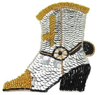 Boot Cowboy with Gold and Black Beads Two Different Sizes