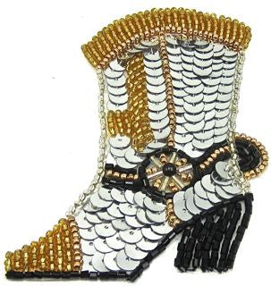 "Boot Cowboy with Silver Black Gold Sequins and Beads Small 2.5"" x 3.5"""