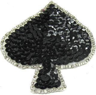 "Spade with Black Sequins and Silver Beads 3"" x 2"""