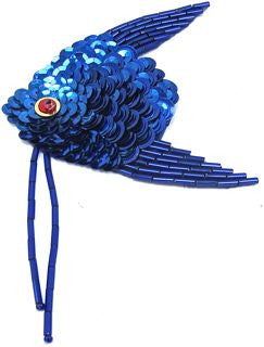 "Fish with Royal Blue Sequins and Beads 5"" x 2.5"""