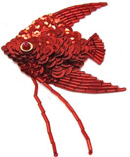 "Fish with Red Sequins and Beads 5"" x 2.5"""