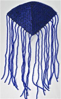 "Epaulet with Royal Blue Beads 5"" x 9"""