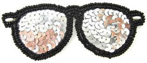 "Sunglasses with Silver and Black Sequins 4.25"" x 1.5"""