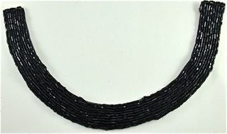 "Design Motif with Black Beaded Collar Shape Neckline  8"" x 5"""