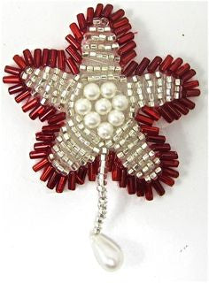 "Flower with Red and Silver Beads 2.5"" x 2"""