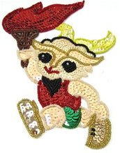 "Load image into Gallery viewer, Olympic Torch Runner with Multi-Color Sequins and Beads 7"" x 4.5"""