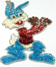 "Load image into Gallery viewer, Rabbit Boxing Cartoon with Multi Colored Sequins and Beads 6.5"" x 4.5"""