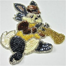 "Load image into Gallery viewer, Rabbit with Bowler Hat Playing Horn with Multi Colored Sequins and Beads 5.5"" x 4"""