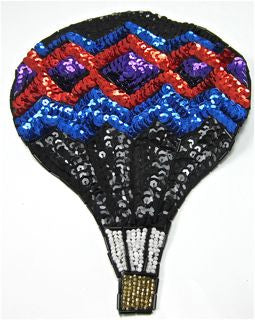 "Balloon Hot Air with MultiColored Sequins and Beads 6"" x 8"""
