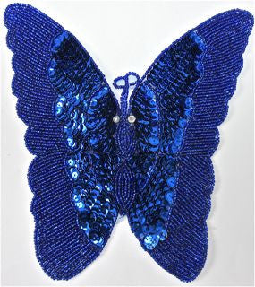 "Butterfly Royal Blue Sequin 7"" x 8"""