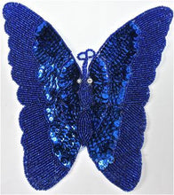 "Load image into Gallery viewer, Butterfly Royal Blue Sequin 7"" x 8"""