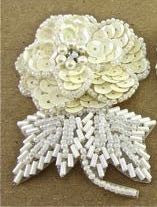 "Flower Pair Tripple Layered with Cream and White Sequins and Beads 3"" x 2"""