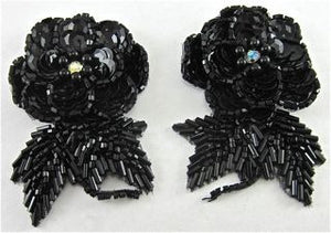 "Flower Pair with Raised Black  Sequins and AB Rhinestone 3"" x 2"""