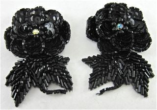 Flower Pair with Raised Black  Sequins and AB Rhinestone 3