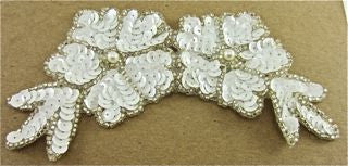 "Flower with White Sequins and Silver Beads 6"" x 3"""