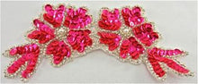 "Load image into Gallery viewer, Flower with Flourescent Pink Sequins and Silver Beads 6"" x 3"""