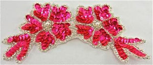 "Flower with Flourescent Pink Sequins and Silver Beads 6"" x 3"""