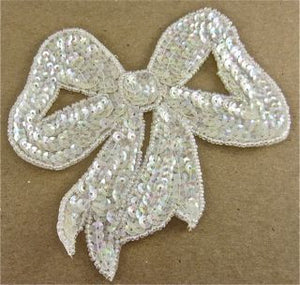 "Bow with Iridescent Sequins 5"" x 5"""
