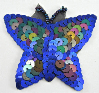 "Butterfly with MultiColored Sequins 3"" x 2.5"""