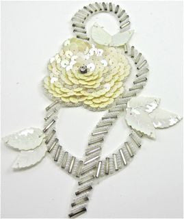 "Flower with White and Silver Sequins and Beads 4.5"" x 6"""