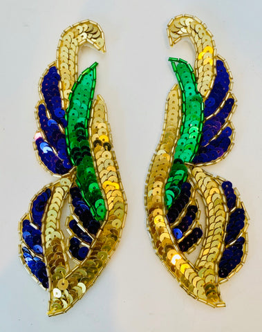 "Flame Pair Mardi Gras Colors  Green, gold, purple 6""x2.25"""