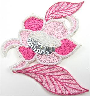 "Flower Pink with Silver Sequins and Beads Embroidered 4"" x 4"""