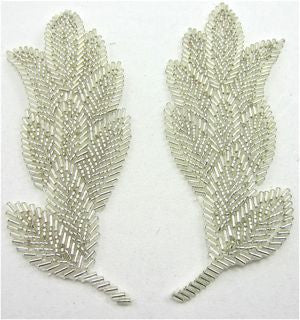 "Leaf Pair with Silver Beads 5.5"" x 2"""
