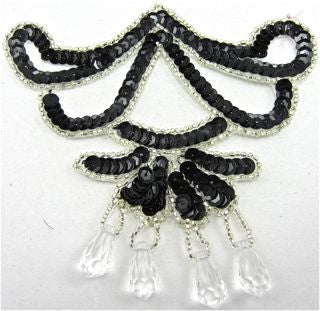 "Designer Motif with Black Sequins with Dangling Jewels 5"" x 4"""